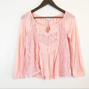 American Eagle lace inset blouse busty pink XS EUC